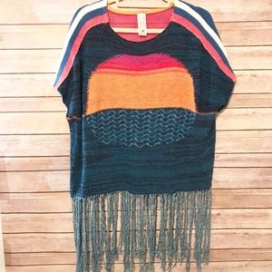 NWOT Free People knitted, fringed poncho